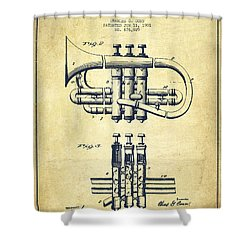 Cornet Patent Drawing From 1901 - Vintage Shower Curtain by Aged Pixel