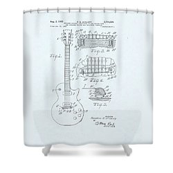 Guitar Patent Drawing On Blue Background Shower Curtain