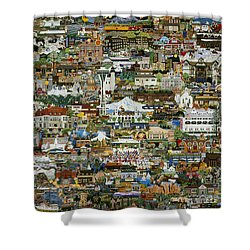 100 Painting Collage Shower Curtain by Jennifer Lake