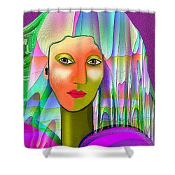 1079 - Mysterious  Lady With A Veil 2017 Shower Curtain