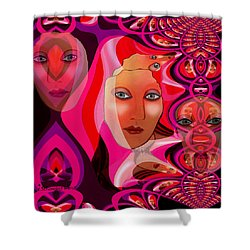 1082 Pink Lady  Fractal Shower Curtain