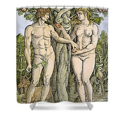 Adam And Eve Shower Curtain by Granger