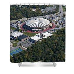 aerials of WVVU campus Shower Curtain by Dan Friend