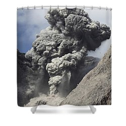 Ash Cloud Rises From Crater Of Batu Shower Curtain by Richard Roscoe