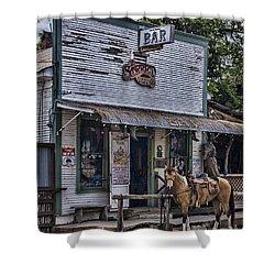 11th Street Cowboy Bar In Bandera Texas Shower Curtain by Priscilla Burgers