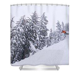 Young Man Snowboarding At Kirkwood Ski Shower Curtain