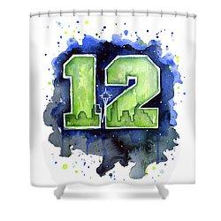 12th Man Seahawks Art Seattle Go Hawks Shower Curtain by Olga Shvartsur