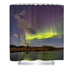 Aurora Borealis With Moonlight At Fish Shower Curtain by Joseph Bradley