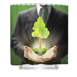Business Abstract Shower Curtain by Atiketta Sangasaeng