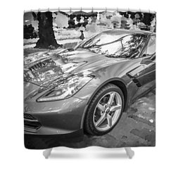 2014 Chevrolet Corvette C7 Bw   Shower Curtain by Rich Franco