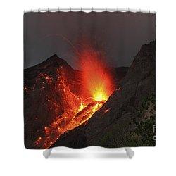 Strombolian Type Eruption Of Batu Tara Shower Curtain by Richard Roscoe