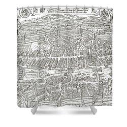 1576 Zurich Switzerland Map Shower Curtain by Daniel Hagerman