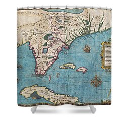 1591 De Bry And Le Moyne Map Of Florida And Cuba Shower Curtain