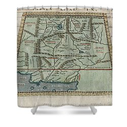 1597 Ptolemy  Magini  Keschedt Map Of Pakistan Iran And Afghanistan Shower Curtain by Paul Fearn