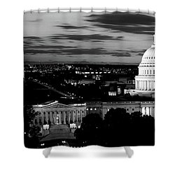 High Angle View Of A City Lit Shower Curtain by Panoramic Images