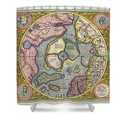 1606 Mercator Hondius Map Of The Arctic Shower Curtain by Paul Fearn