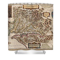 1630 Hondius Map Of Virginia And The Chesapeake Shower Curtain by Paul Fearn