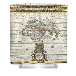1650 Jansson Map Of The Ancient World Shower Curtain by Paul Fearn