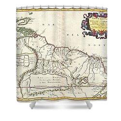 1656 Sanson Map Of Guiana Venezuela And El Dorado Shower Curtain by Paul Fearn