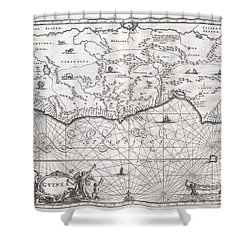 1670 Ogilby Map Of West Africa  Gold Coast Slave Coast Ivory Coast Shower Curtain by Paul Fearn