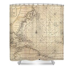 1683 Mortier Map Of North America The West Indies And The Atlantic Ocean  Shower Curtain