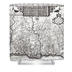 1687 Pennsylvania Map Shower Curtain by Bill Cannon