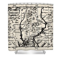1690 Pennsylvania Map Shower Curtain by Bill Cannon