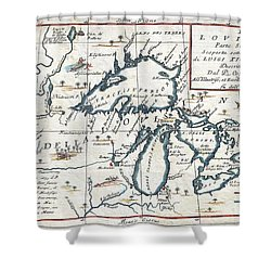 1696 Coronelli Map Of The Great Lakes Shower Curtain by Paul Fearn