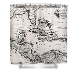1696 Danckerts Map Of Florida The West Indies And The Caribbean Shower Curtain by Paul Fearn