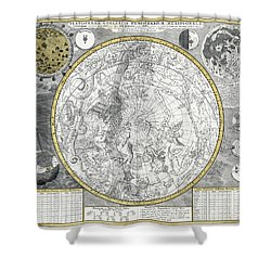 1700 Celestial Planisphere Shower Curtain by Daniel Hagerman