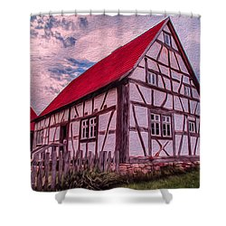 Shower Curtain featuring the painting 1700s German Farm by Omaste Witkowski