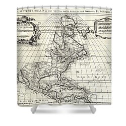 1708 De Lisle Map Of North America Shower Curtain by Paul Fearn