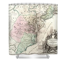 1715 Homann Map Of Carolina Virginia Maryland And New Jersey Shower Curtain by Paul Fearn