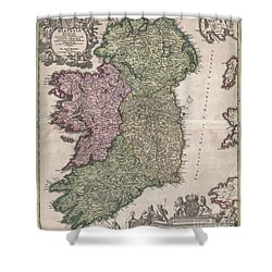 1716 Homann Map Of Ireland Shower Curtain by Paul Fearn