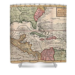1732 Herman Moll Map Of The West Indies And Caribbean Shower Curtain