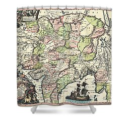 1740 Seutter Map Of India Pakistan Tibet And Afghanistan Shower Curtain by Paul Fearn