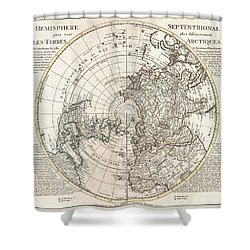 1741 Covens And Mortier Map Of The Northern Hemisphere  North Pole Arctic Shower Curtain by Paul Fearn