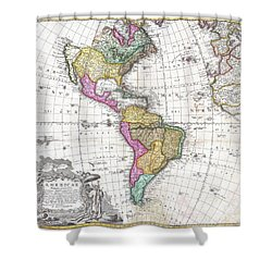 1746 Homann Heirs Map Of South And North America Shower Curtain by Paul Fearn