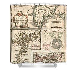 1747 Bowen Map Of The North Atlantic Islands Greenland Iceland Faroe Islands Shower Curtain by Paul Fearn