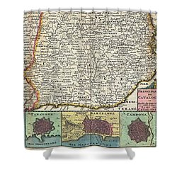 1747 La Feuille Map Of Catalonia Spain Shower Curtain