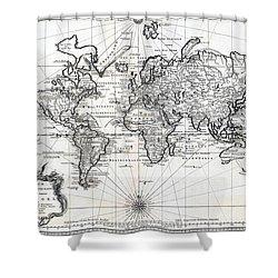 1748 Antique World Map Versuch Von Einer Kurzgefassten Karte  Shower Curtain by Karon Melillo DeVega