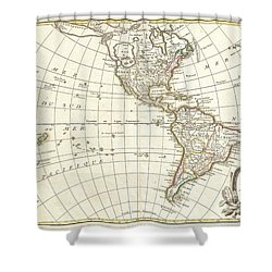 1762 Janvier Map Of North America And South America  Shower Curtain by Paul Fearn