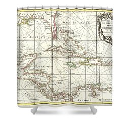 1762 Zannoni Map Of Central America And The West Indies Shower Curtain