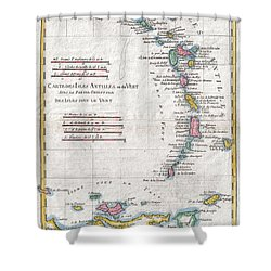 1780 Raynal And Bonne Map Of Antilles Islands Shower Curtain