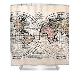 1791 Antique World Map Die Funf Theile Der Erde Shower Curtain by Karon Melillo DeVega