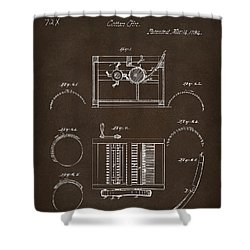 Shower Curtain featuring the drawing 1794 Eli Whitney Cotton Gin Patent Espresso by Nikki Marie Smith