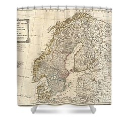 1794 Laurie And Whittle Map Of Norway Sweden Denmark And Finland Shower Curtain