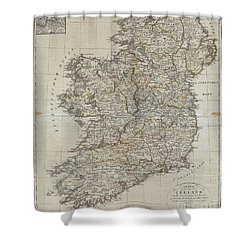 1804 Jeffreys And Kitchin Map Of Ireland Shower Curtain
