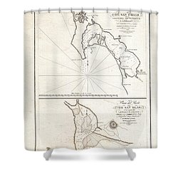 1825 Victoria Map Of San Diego California And San Blas Mexico  Shower Curtain by Paul Fearn