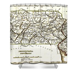 1835 Pennsylvania And New Jersey Map Shower Curtain by Bill Cannon